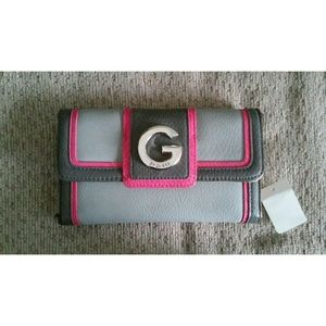 Pink & Two Tone Gray G By Guess Checkbook Wallet